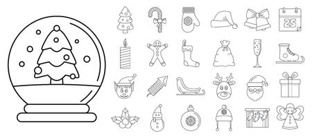 Photo pour Christmas holiday icon set, outline style - image libre de droit