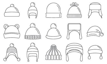 Photo pour Winter headwear outfit icon set, outline style - image libre de droit