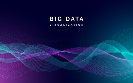 Photo pour Visualization big data banner, realistic style - image libre de droit