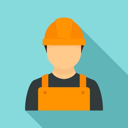Illustration for Construction man icon, flat style - Royalty Free Image