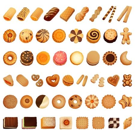 Illustration pour Biscuit icon set. Cartoon set of biscuit vector icons for web design - image libre de droit