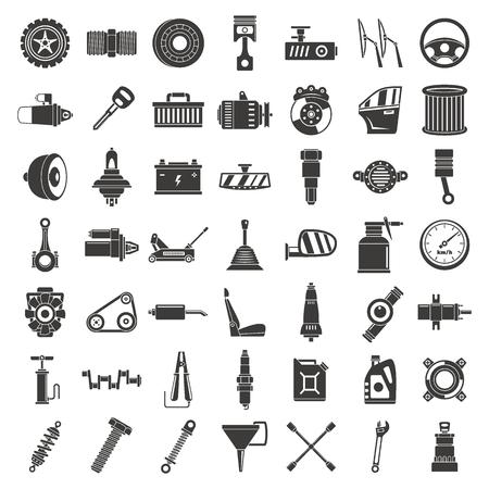 Illustration for Motor car part icon set. Simple set of motor car part vector icons for web design on white background - Royalty Free Image