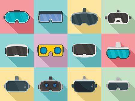 Illustration pour Game goggles icons set, flat style - image libre de droit