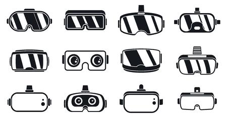 Illustration pour 3d game goggles icons set. Simple set of 3d game goggles vector icons for web design on white background - image libre de droit