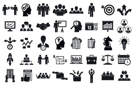 Vektor für Business planning meeting system icons set, simple style - Lizenzfreies Bild
