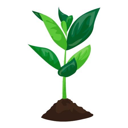 Illustration pour Soybean plant in ground icon, cartoon style - image libre de droit