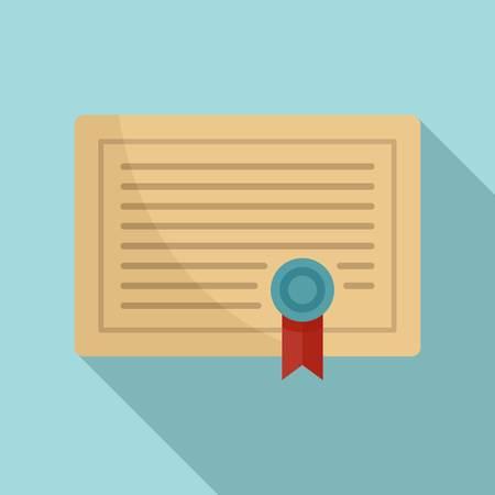Illustration pour Learning certificate icon, flat style - image libre de droit