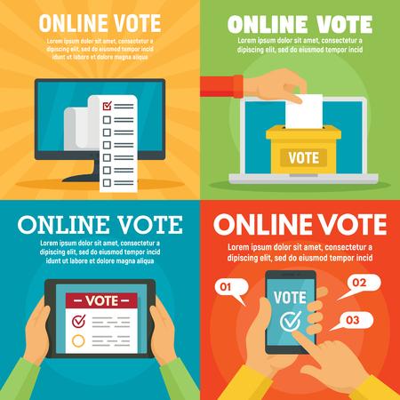 Illustration pour Modern online vote banner set, flat style - image libre de droit