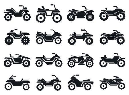 Illustration for Race quad bike icons set. Simple set of race quad bike vector icons for web design on white background - Royalty Free Image