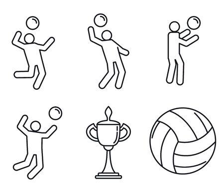 Photo pour Volleyball sport icons set. Outline set of volleyball sport icons for web design isolated on white background - image libre de droit