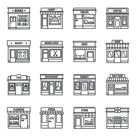 Illustration for Local business store icons set, outline style - Royalty Free Image