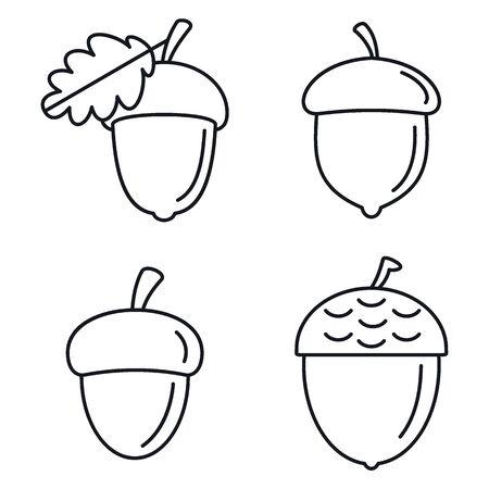 Illustration pour Acorn oak icons set. Outline set of acorn oak vector icons for web design isolated on white background - image libre de droit