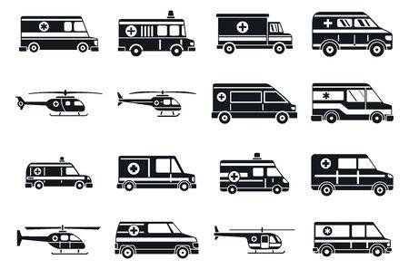 Illustration pour City ambulance icons set, simple style - image libre de droit