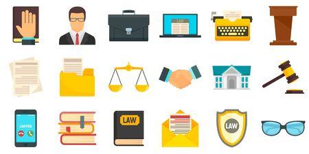 Ilustración de Lawyer icons set, flat style - Imagen libre de derechos