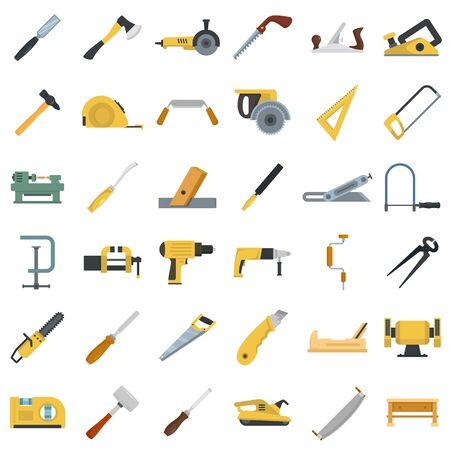 Illustration for Carpenter icon set, flat style - Royalty Free Image