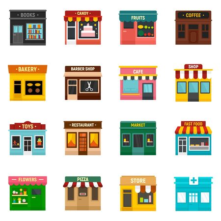 Illustration for Local business icons set, flat style - Royalty Free Image