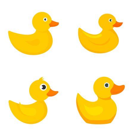 Illustration pour Yellow duck icons set, flat style - image libre de droit