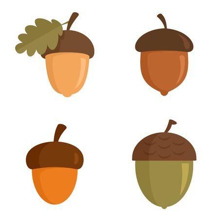 Illustration pour Acorn icons set, flat style - image libre de droit