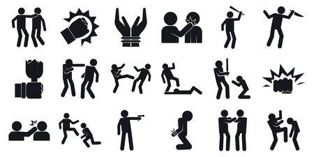 Illustration pour Violence icons set, simple style - image libre de droit
