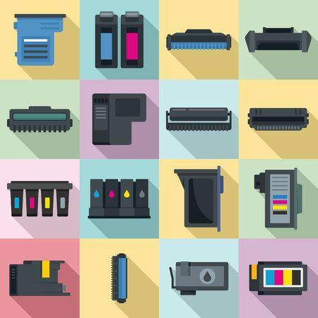 Illustration pour Cartridge icons set, flat style - image libre de droit