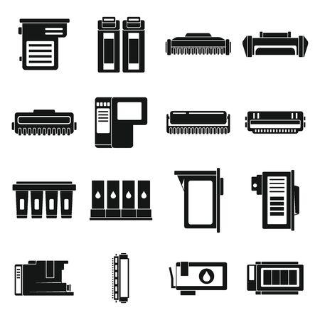 Illustration pour Cartridge toner icons set, simple style - image libre de droit