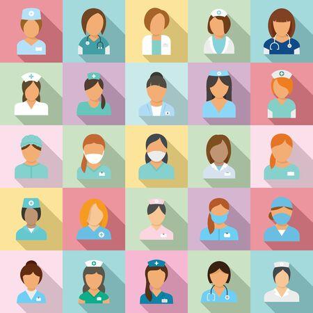 Illustration pour Nurse icons set, flat style - image libre de droit