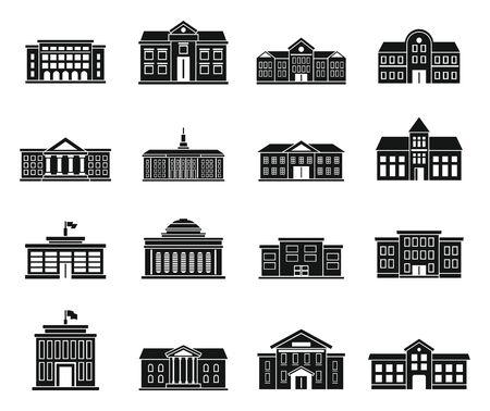 Photo pour University building icons set. Simple set of university building vector icons for web design on white background - image libre de droit