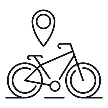 Illustration pour Gps pin bike location icon, outline style - image libre de droit