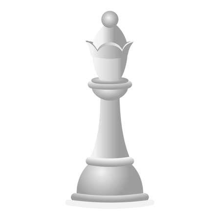 Illustration pour White chess queen icon, cartoon style - image libre de droit