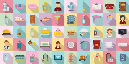 Illustration pour Room service icons set, flat style - image libre de droit
