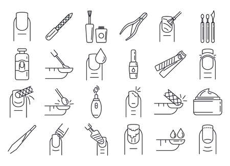 Photo pour Nail manicure icons set, outline style - image libre de droit