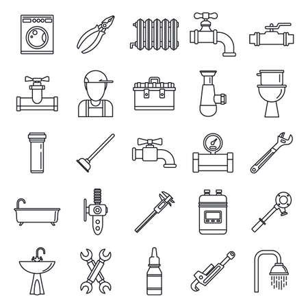 Photo pour Plumbing repair icons set, outline style - image libre de droit