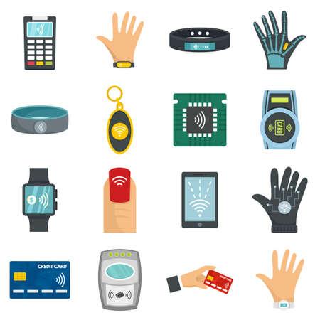 Photo pour Nfc technology icon set, flat style - image libre de droit