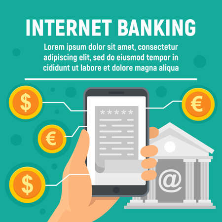 Photo for Global internet banking concept banner, flat style - Royalty Free Image