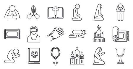 Photo pour Religion prayer icons set, outline style - image libre de droit