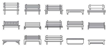 Photo pour Street bench icons set, outline style - image libre de droit