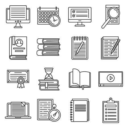 Photo pour Education preparation for exams icons set, outline style - image libre de droit