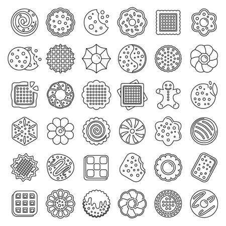 Photo pour Biscuit icons set, outline style - image libre de droit