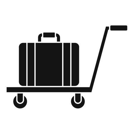 Illustration pour Room service bag cart icon, simple style - image libre de droit
