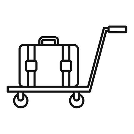 Illustration pour Room service bag cart icon, outline style - image libre de droit
