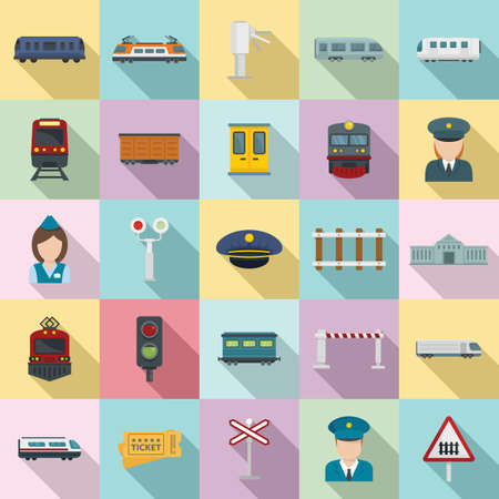 Electric train driver icons set, flat style