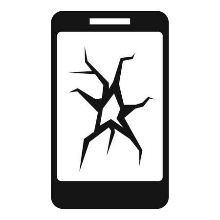 Illustration pour Cracked smartphone display icon, simple style - image libre de droit