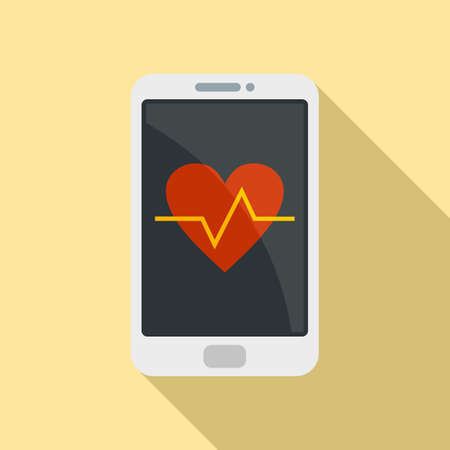 Illustration for Heart rate smartphone icon, flat style - Royalty Free Image