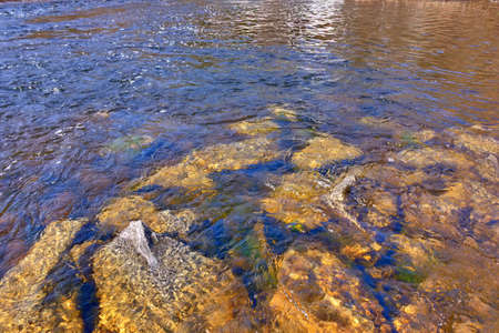 Photo pour The streams of water of a mountain river washing the stones covered with multicolored moss lit by sunlight. - image libre de droit