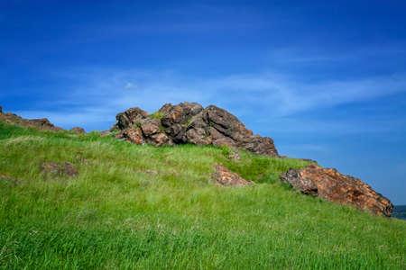 Photo pour Summer landscape on the mountain against the sky . Summer mountain landscape. - image libre de droit