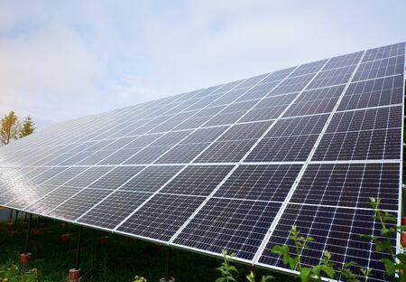 Solar panels sky background. Renewable energy concept. Science technology. Ecology concept. Science background. Alternative sun energy concept.