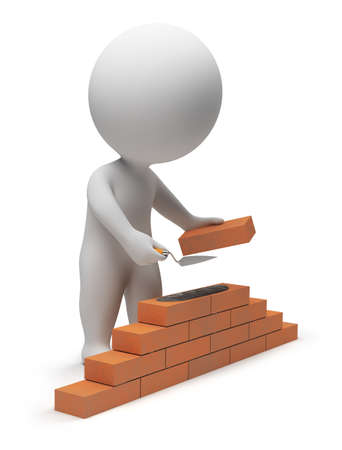 3d small people - builder laying down bricks. 3d image. Isolated white background.