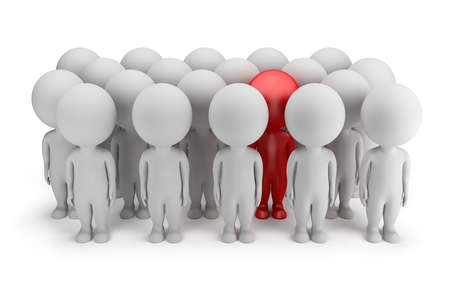 3d small person - stands out in a crowd of people in red  3d image  White background