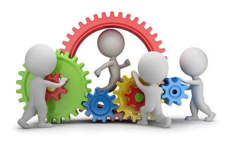 3d small people - team twisting multicolored gears  3d image  White background