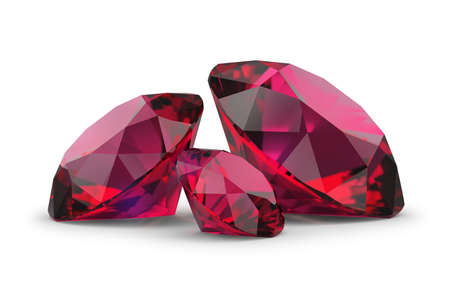 Photo for Three rubies. 3d image. White background. - Royalty Free Image